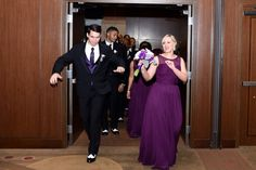 Purple bridesmaids dress and wedding party entrance