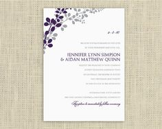 Printable Wedding Invitation Template by DiyWeddingTemplates Engagement Invitations, Printable Wedding Invitations, Wedding Invitation Templates, Invitation Ideas, Save The Date, Thank You Cards, Vines, Wedding Planning, Projects To Try