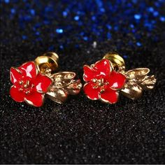 18k Gold Filled Red Floral Stud Earrings Brand New #E021 Jewelry Earrings