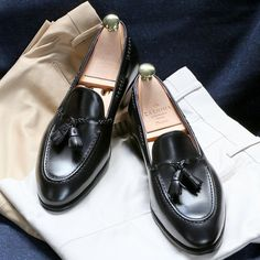 Black braided tassel loafers as per Jagnelli preference - yes those are Armoury chinos now back in stock!