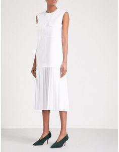 Victoria Victoria Beckham Pleated-skirt woven midi dress