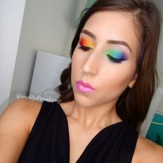 Rainbow eyes! Follow my instagram @mellyfmakeup for more!