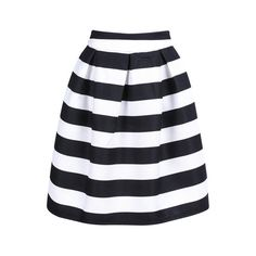 SheIn(sheinside) Black Striped Knee Length Skirt ($15) ❤ liked on Polyvore featuring skirts, sheinside, bottoms, faldas, stripes, black, knee high skirts, black a line skirt, striped a line skirt and striped skirt