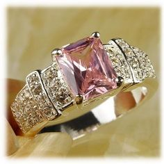 'Emerald Cut Pink & White Topaz Gemstone Silver Ring Siz' is going up for auction at  4pm Thu, Jul 4 with a starting bid of $1.