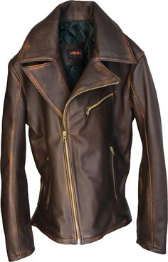 REBEL Mens Leather Jacket Cafe Racer Distressed Brown Color in Lambskin Made to Order