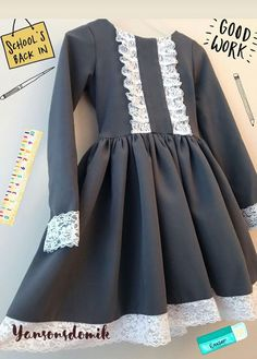 Pin by Tiina Wallin on Ompeluideoita Girls Dresses Sewing, Vintage Girls Dresses, Frocks For Girls, Kids Frocks, Little Girl Dresses, Baby Dress Design, Baby Girl Dress Patterns, Toddler Dress, Toddler Outfits