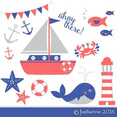 Red Blue and Grey Nautical Clipart  Sea Boat Crab by feathertree