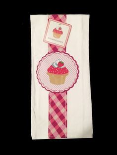 Cupcake Bardwil Linens Dish Towel Hostess Gift Appliqued 100% Cotton NEW #bardwil