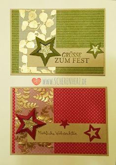heat embossing Karten Farben: Chilli, Waldmoos, Savanne Stempelsets: Herbstfarben, gesammelte Grüße, Four Feathers Stampin'Up
