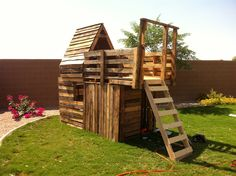 Creativity at it's best. Pallet board fort. :)