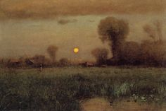 """Harvest Moon,"" by George Inness, oil on canvas, 30 by 44 ½ inches, The Corcoran Gallery of Art, Washington, D.C., bequest of Mabel Stevens Smithers, The Frances Sydney Smithers Memorial, 1891"