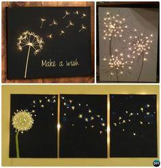 DIY String Light Backlit Canvas Art Ideas Crafts - Light Up Dandelion Canvas
