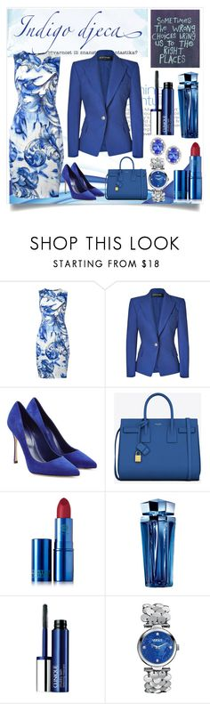 """""""Royal Blue, Sophistication At Its Best......."""" by meetzz ❤ liked on Polyvore featuring Versace, Balmain, Sergio Rossi, Yves Saint Laurent, Lipstick Queen, Thierry Mugler, Clinique, Versus, Effy Jewelry and contest"""