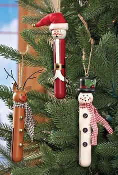 Set 3 Christmas Clothespin Tree Ornament Santa Snowman Reindeer Wood NEW B6243…: