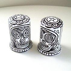 Sugar Skulls Salt and Pepper Shakers Ceramic Black White Hand Painted Day of the Dead Folk Art Tabletop on Etsy, $38.78 AUD