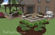 """530 sq. ft. of Outdoor Living Space. 2 Large Areas for Patio Table and Built-in Fire Pit. Space for Barbecue Grill Built-in 56"""" Square Fire Pi"""