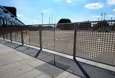 Custom pedestrian guardrail for Govan Transport Hub. Glasgow, perforated panels forming a map of the Clyde #streetfurniture #stainlesssteel #bluetonsitefurniture #bluetonstreetfurniture #guardrail
