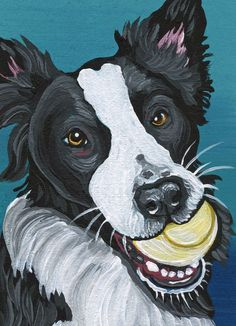 ACEO ATC Border Collie Ball Dog Art Original Painting-Carla Smale #Realism