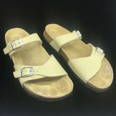 c36b1c8166f8 Birkis by Birkenstock Yellow White Double Strap Sandals Womens Size 9 Mens  7 US  Birkenstock