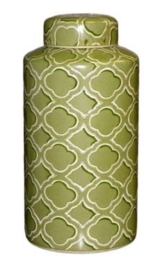 Quatrefoil Porcelain Cylinder Jar by HomArt -- Beautiful porcelain jar with a green quatrefoil design. Dimensions: x Quatrefoil Pattern, Kitchen Canisters, Spice Jars, Ginger Jars, Collectible Figurines, Joss And Main, Rustic Style, Porcelain, Marrakesh