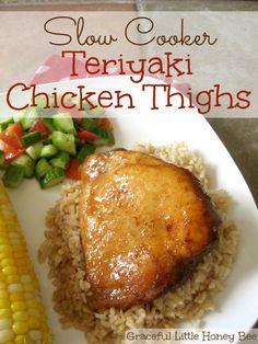 Slow Cooker Teriyaki Chicken Thighs on gracefullittlehoneybee.com