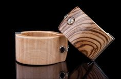One of a kind wood cuffs with colored gemstones by Kara Ross