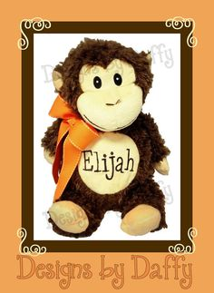 Personalized Stuffed Animal  Monogramed by DesignsbyDaffy on Etsy, $29.95