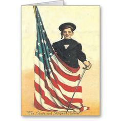 Boy US Flag Uniform Memorial Day Greeting Card