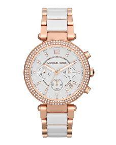 Michael Kors Mid-Size Rose Golden Stainless Steel Parker Chronograph Glitz Watch