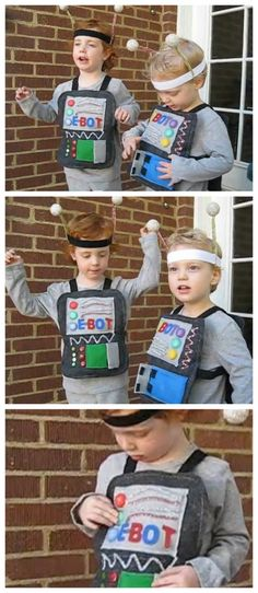 DIY Kids Robot Costumes, complete with light up buttons and sound!