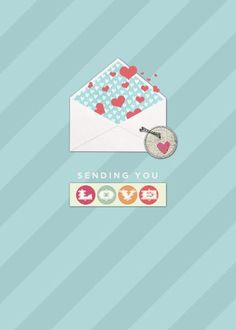 Sending Love TEMPLATE: 131053 By Roxanne Buchholz 5 x 7 Greeting Card  Send a greeting of love to family and friends that may live far away.