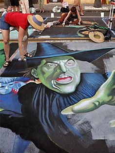 See how pavement artists have brought these fictional figures to life