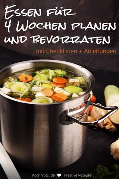 Instructions and checklists: store food easily Anleitung und Checklisten: Lebensmittel bevorraten leicht gemacht Clean Eating Dinner, Clean Eating Recipes, Cooking Recipes, Good Healthy Recipes, Healthy Dinner Recipes, Clean Eating For Beginners, Budget Meals, Make It Simple, Meal Planning