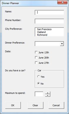 A dinner planner in Excel.