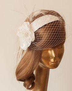 WEDDING BRIDAL Ivory BIRDCAGE VEIL In Vintage Style. by ancoraboutique, $120.00