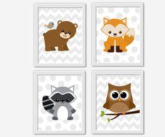 FOREST ANIMALS Baby Nursery Wall Art Woodland Creatures