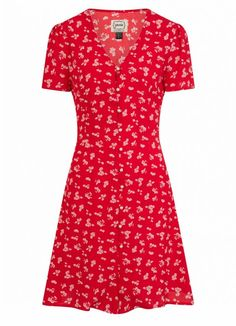 The Gwen Floral Mini Tea Dress is a classic tea dress in a floral print with a vintage-inspired shape, tie back and pearl button-through front. Shop now! White Tea Dresses, High Tea Dress, Dress Up Day, Dress Red, Joanie Clothing, Floral Tea Dress, Casual Day Dresses, Vintage Inspired Outfits, Dress Shapes