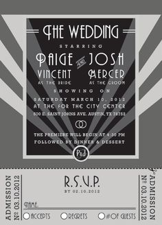 Awesome theme-Old Hollywood Wedding Invitation