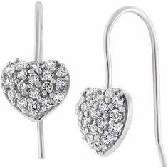 """CZ Sterling Silver Pave Heart 3/4"""" Drop Earrings"""