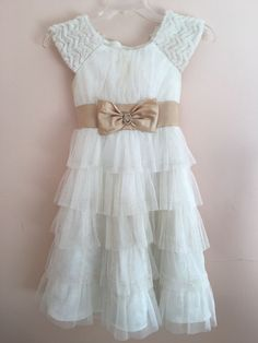 Girls Cream Gold Glitter Ruffled Formal Occasion Tulle Dress Faux Fur Xmas Size8 in Clothing, Shoes & Accessories, Kids' Clothing, Shoes & Accs, Girls' Clothing (Sizes 4 & Up)   eBay