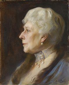 """Princess Beatrice (1857-1944), when widow to Prince Henry of Battenberg (1896-1944)"", Philip de Laszlo, 1926; Royal Collection Trust 408392"