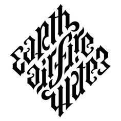 Earth, Air, Fire, Water by John Langdon. Graffiti Lettering, Lettering Design, Logo Design, Type Design, Caligraphy Alphabet, Typography Letters, Ambigram Tattoo Generator, Ambigramm Tattoo, Type Tattoo