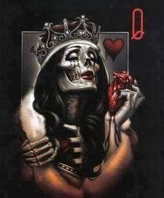 Tattoo Ideas Queens Queen Of Hearts The Dark Art Card Dead Sugar Dr Tattoo, Tattoo Motive, Tatoo Art, Dark Fantasy Art, Dark Art, Og Abel Art, Paar Tattoos, Sugar Skull Girl, Sugar Skulls