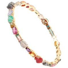 Multicolored Gemstone and Diamond Bangle Bracelet