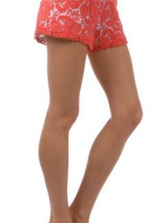 Coral Crochet Overlay Shorts with Back Zipper,  Bottoms, coral  crochet, Chic