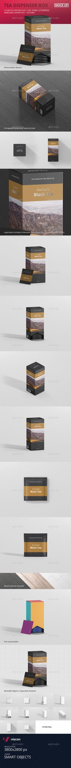 Tea Dispenser Box Mockup by visconbiz Full customizable Tea Packaging MockupCreate a tea packaging design in seconds with these high quality tea box mockups for print