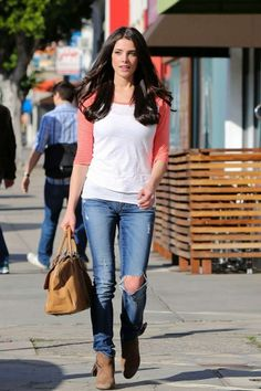 Ashley Greene flaunts casual style of ripped jeans and white tee in West Hollywood