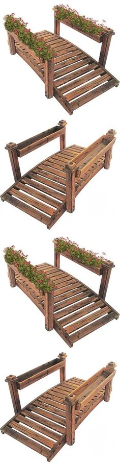 Bridges 115773: Wooden Garden Bridge With Planter Small Stream Walkway  Backyard Patio Outdoor  U003e