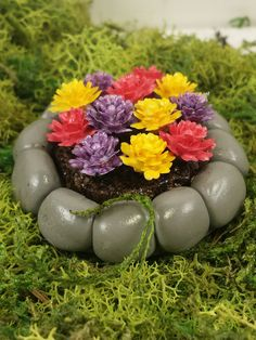 Fairy garden miniature flower bed. Purple, yellow, and red flowers in rock flower bed. by PuppyLoveMiniature on Etsy