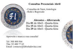 Novas datas para consultas presenciais em Abrantes  Dias 01, 15 e 29 de Abril.   Para consultas presenciais em Lisboa basta marcar de Segunda a Sexta com antecedência mínima de 48 horas.   Abraços de Luz,   www.fabioludovina.com